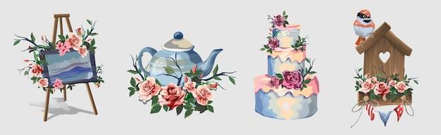 Zestaw z różnymi przedmiotami ozdobionymi kwiatami. śliczne małe romantyczne obrazki z kwiatami. sztaluga artystyczna, imbryk, duży piękny tort, ptaszarnia. piękne różowe róże.