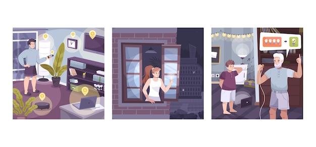 Zestaw z różnymi urządzeniami elektronicznymi w domu, zaciemnienia w mieście i opisy oszczędzania energii elektrycznej