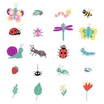 Zestaw z słodkie owady na białym tle. biedronka, motyl, ślimak, ważka, chrząszcz, pająk, gąsienica, robak, mucha, pszczoła, mrówka.