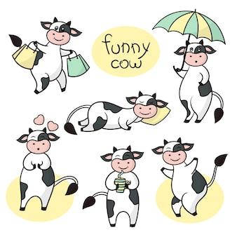 Zestaw z śmieszne kreskówki słodkie czarno-białe krowy.