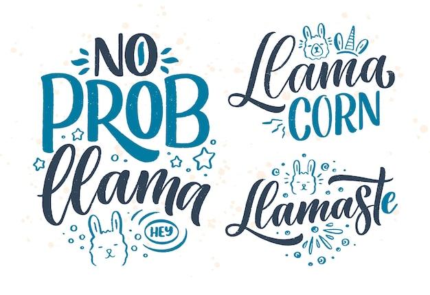 Zestaw z śmieszne ręcznie rysowane napis cytaty o lamie.