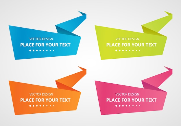 Zestaw z streszczenie origami mowy pęcherzyki zestaw bannerów