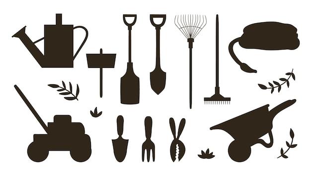 Zestaw z sylwetkami narzędzi ogrodniczych