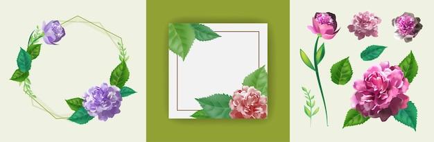 Zestaw z szablonem zaproszenia, kartką z życzeniami, ozdobiony różowymi kwiatami róż, pięknymi zielonymi liśćmi i ramką w kształcie koła. 3d realistyczna ilustracja.