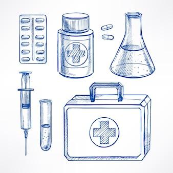 Zestaw z szkicem materiałów medycznych
