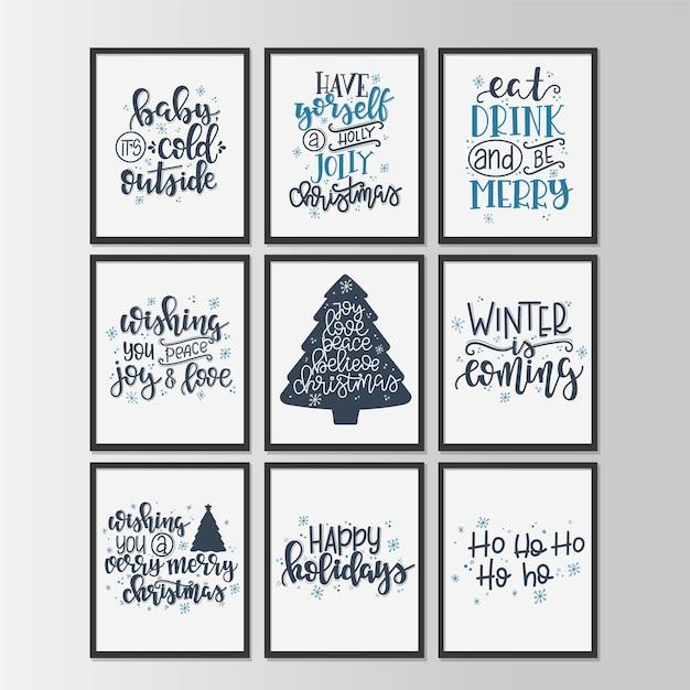 Zestaw z tagami i kartami upominkowymi z kaligrafii wesołych świąt i szczęśliwego nowego roku. napis odręczny.