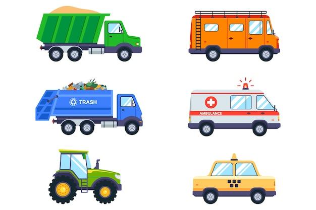 Zestaw z transportem publicznym. taksówka, śmieciarka, karetka pogotowia, traktor i van