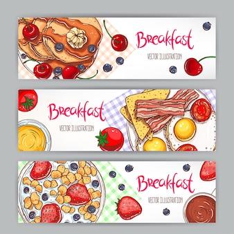 Zestaw z trzema banerami przedstawiającymi różne rodzaje śniadań. ręcznie rysowane ilustracji