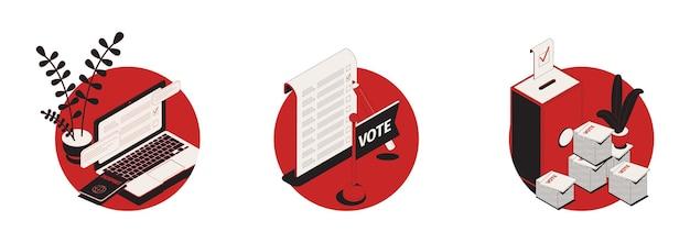 Zestaw z trzema izolowanymi ilustracjami rundy wyborczej