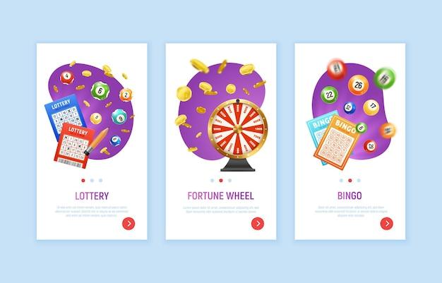 Zestaw z trzema realistycznymi pionowymi banerami loterii bingo z przyciskami przełączania stron