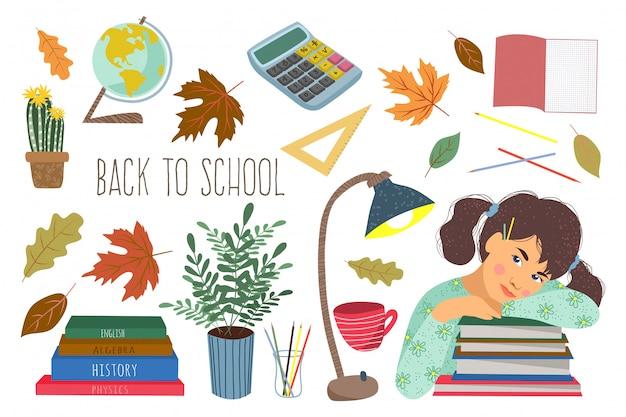 Zestaw z uczennicą, książkami z artykułami biurowymi i innymi