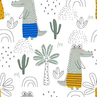 Zestaw z uroczym zwierzęciem krokodyla na białym tle ilustracji wektorowych