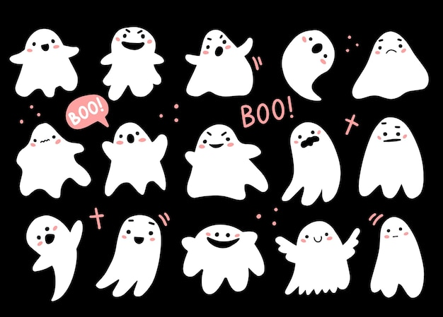 Zestaw z uroczymi duchami w ładnym stylu doodle kreskówek halloweenowe postacie z duchami
