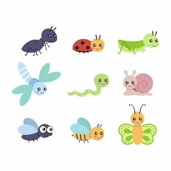 Zestaw z uroczymi owadami do książeczki dla dzieci. małe postacie o dużych oczach. ilustracja wektorowa w stylu kreskówki.