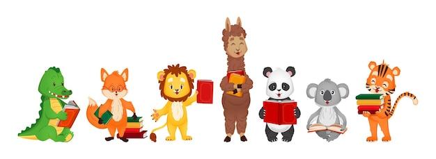 Zestaw z uroczymi zwierzętami czytającymi książki. ilustracja wektorowa dla dzieci w stylu płaskiej kreskówki