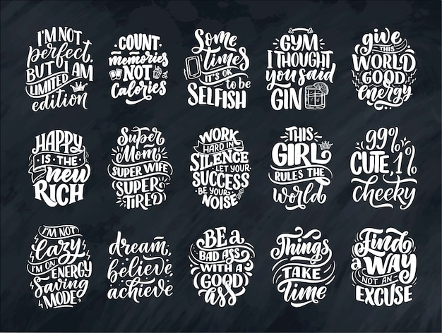 Zestaw z zabawnymi ręcznie rysowane kompozycje napisów. fajne zwroty do druku i plakatu. inspirujące hasła feminizmu.
