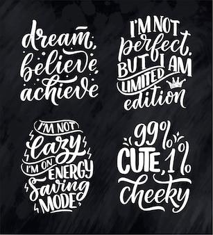 Zestaw z zabawnymi ręcznie rysowanymi kompozycjami napisów. inspirujące slogany feminizmu. cytaty o mocy dziewczyny.