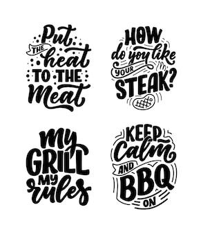 Zestaw z zabawnymi sloganami bbq. napis na projekt rodzinnej kolacji.