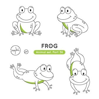 Zestaw żab bazgroły w różnych pozach na białym tle