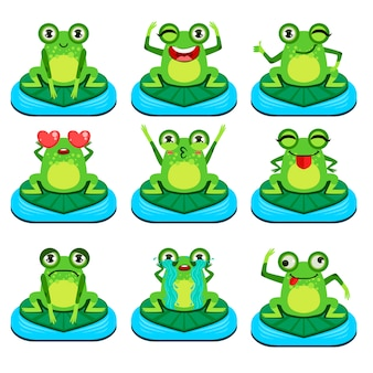 Zestaw żab siedzi na liście znaków