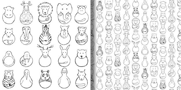 Zestaw zabawek abstrakcyjnych dla dzieci i wzór bez szwu