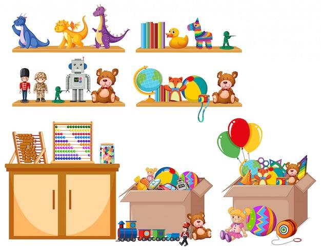 Zestaw zabawek na półce i w pudełkach