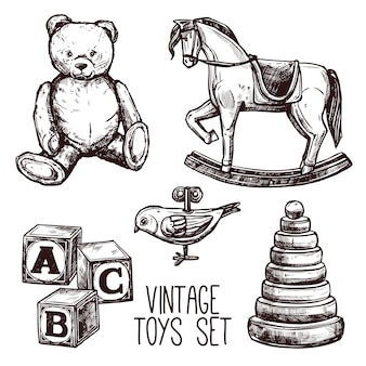 Zestaw zabawek vintage
