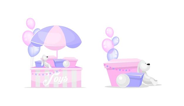 Zestaw zabawek w płaskich kolorach. zabawka królik dla dzieci. obecne pudełka. sprzedaż i darowizny zabawek. kreskówka na białym tle miłości