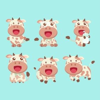 Zestaw zabawne kreskówki krowy w różnych pozach.