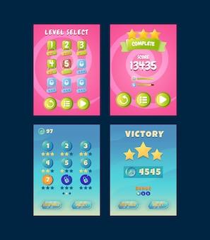 Zestaw zabawnego interfejsu wyboru pionowego poziomu ekranu gry i zwycięstwa