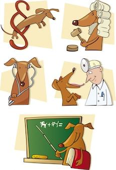 Zestaw zabawnego psa w różnych sytuacjach