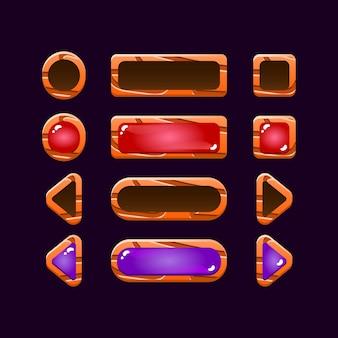 Zestaw zabawnej gry ui drewnianej i galaretkowej strzałki przycisku dla elementów aktywów gui