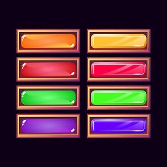 Zestaw zabawnej gry ui stary drewniany i żelowy kryształowy diamentowy przycisk do elementów aktywów gui