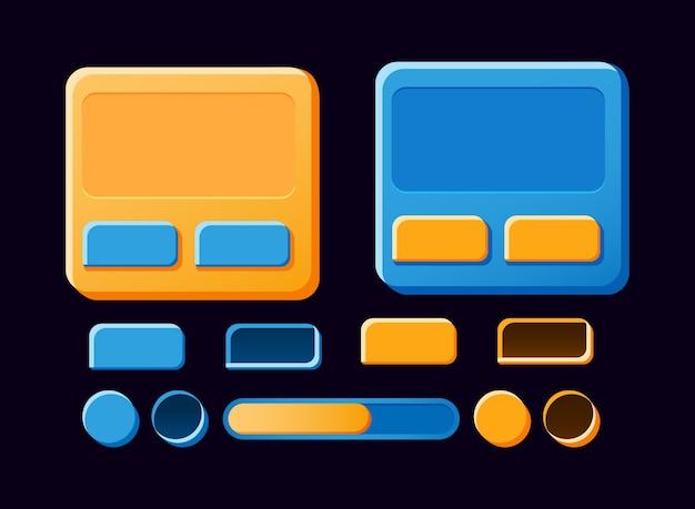 Zestaw zabawnej planszy gui, pop-up, przycisków do elementów zasobów interfejsu gry