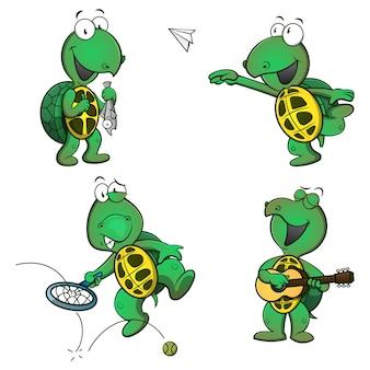 Zestaw zabawnej postaci z kreskówki żółwia podczas łowienia ryb, gry papierowy samolot, tenis i gitary