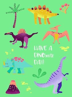 Zestaw zabawny dinozaur do druku plakatu, ilustracja pozdrowienia dla dzieci, zaproszenie dino, ulotka sklepu dinozaurów dla dzieci, broszura, okładka książki w wektorze