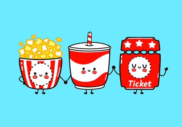 Zestaw zabawny ładny szczęśliwy popcorn lemoniady z biletami zestaw znaków