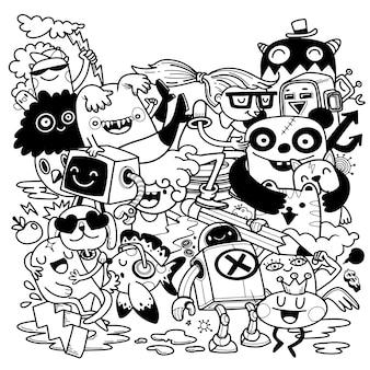 Zestaw zabawny zbiory kreskówek. ręcznie rysowane ilustracji.