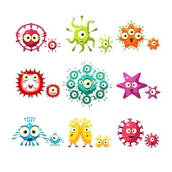 Zestaw zabawnych bakterii i wirusów