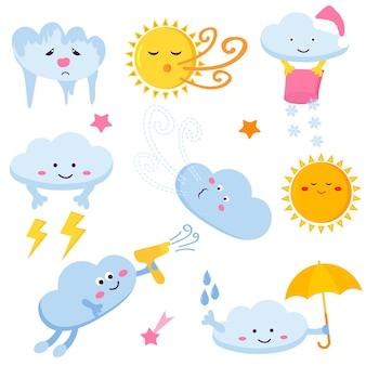 Zestaw zabawnych chmur i słońc. obrazy pogody sezonowej