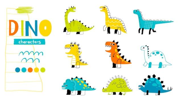 Zestaw zabawnych dinozaurów w stylu doodle kolekcja uroczych starożytnych gadów