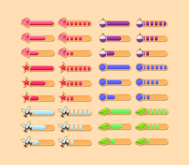 Zestaw zabawnych drewnianych pasków postępu ui gry z 2 różnymi stylami