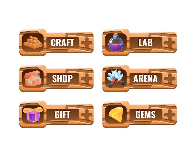 Zestaw zabawnych drewnianych szablonów ramek interfejsu użytkownika gry dla elementów zasobów gui