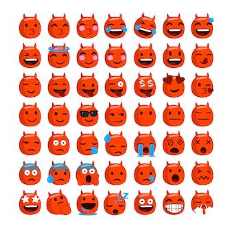 Zestaw zabawnych emoji z twarzą diabła.