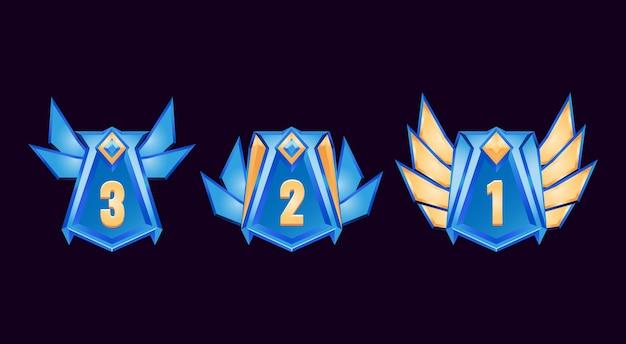 Zestaw zabawnych fantazyjnych błyszczących diamentów, nagrody interfejsu użytkownika, medal rangi dla elementów zasobu gui