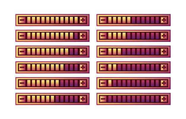 Zestaw zabawnych fioletowych panelu paska postępu ui gry z przyciskiem zwiększania i zmniejszania