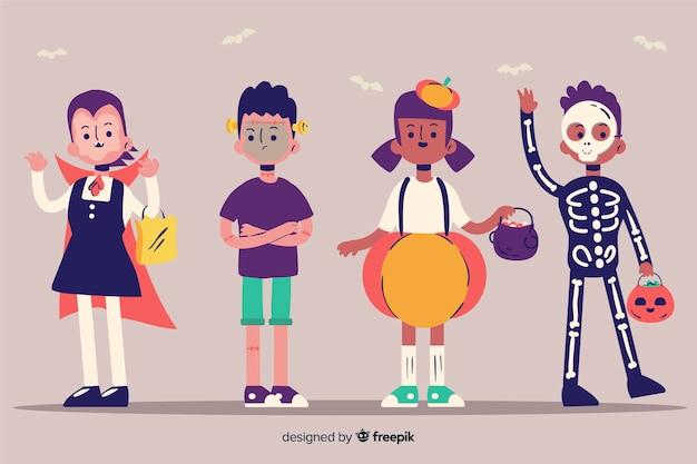 Zestaw zabawnych i uroczych halloweenowych dzieci
