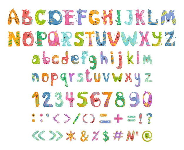 Zestaw zabawnych i uroczych liter z emocjami, cyframi i znakami interpunkcyjnymi.