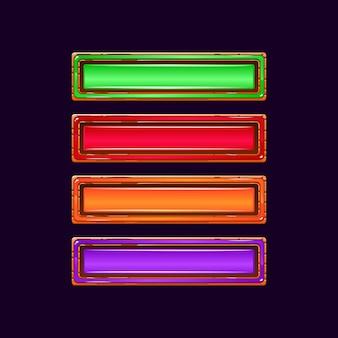 Zestaw zabawnych ikonek paska postępu ładowania kolorowej galaretki gui z drewnianą ramką dla elementów zasobów interfejsu gry