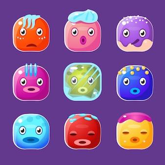 Zestaw zabawnych kolorowych kwadratowych twarzy, awatary emocjonalne kreskówek